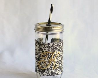 Custom Monogrammed Mason Jar Tumbler | Black White Floral