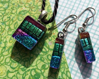 Fused Glass Earrings and Pendant in Dichroic Glass