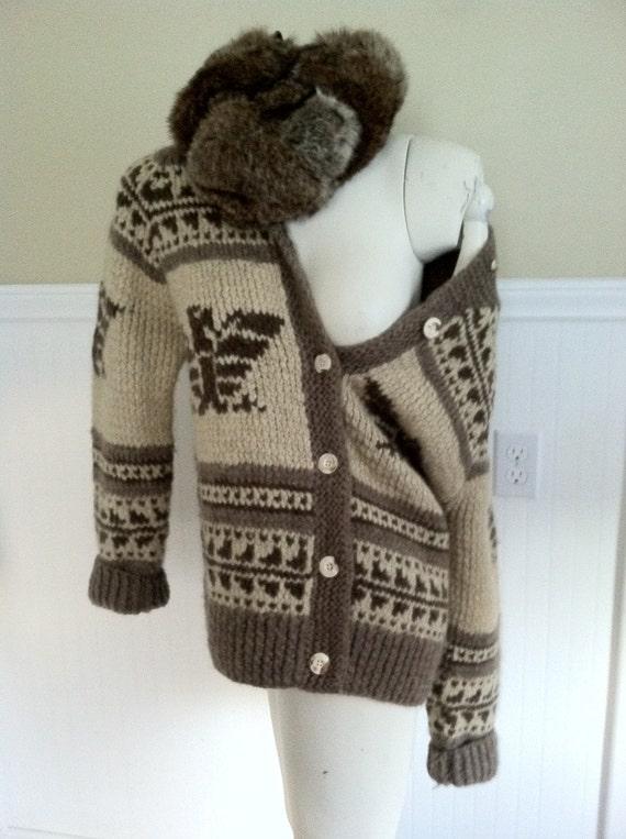 Ralph Lauren Sweater Cowichan Hand Knit Wool Sweater Vintage
