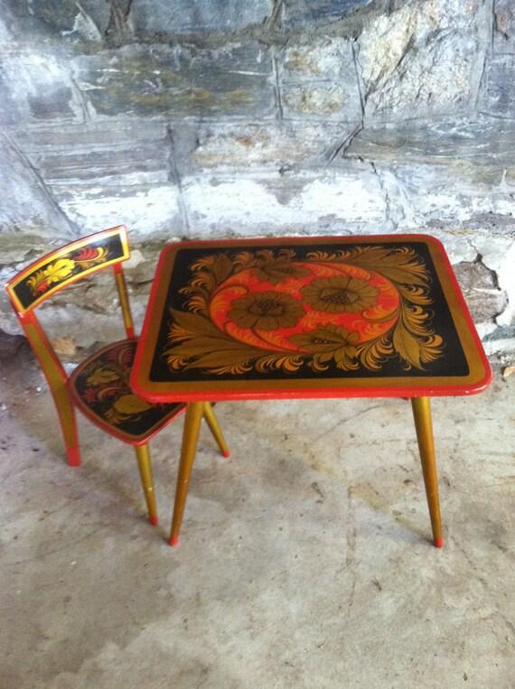 Kids Table Chair Vintage Russian Folk Art Table Khokloma – Vintage Kids Table and Chairs