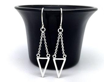 Sterling Silver Triangle Earrings, Geometric Earrings, Modern, Triangle Drop Earrings, Dangle Chain Earrings