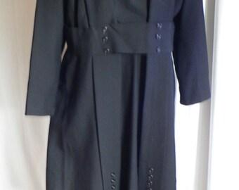 Edwardian Walking Dress, 1910 Black Wool Walking Suit with Button Accents XL