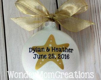 Starfish Wedding Christmas Ornament; Nautical Wedding Ornament; Beach Themed Wedding Ornament; Starfish Engagement Ornament; Just Engaged