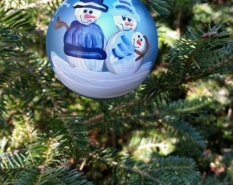 New Baby Boy Personalized Snowman First Christmas Ornament Handpainted Gift