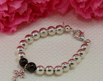 God Bless Sterling Silver Bead Bracelet with Gemstone