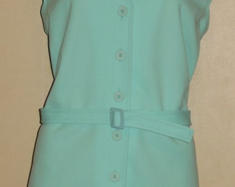 Vintage Light Blue Tunic Top Shirt Devon L Dacron Polyester Button Front Belted 42 Inch Bust