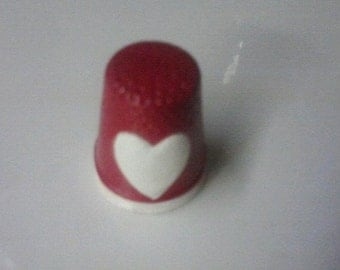 Valentine Heart Ceramic Hand-painted Thimble