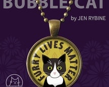 Furry Black Cat Lives Matter Rescue Cat Jewelry Tuxedo Cat Necklace adoption adopt Pendant glass dome Cute kittens Cartoon Cat jewelry art