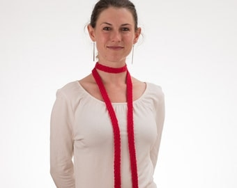 Long Thin Scarf, Skinny Scarf, CHERRY RED, Silk and Bamboo - 187/188/189