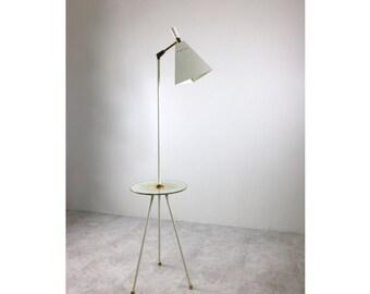 rare vintage white brass tripod floor lamp w glass table mid century modern italian
