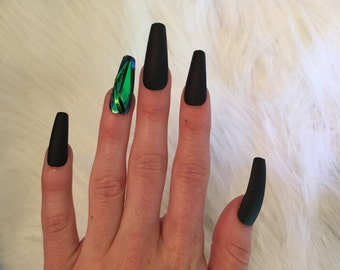Matte Black Emerald Nails
