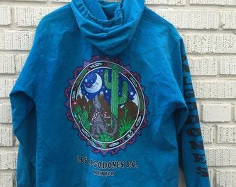 90s Blue Jacket. 1990s Los Algodones B.C. Mexico Coat. Howling Coyote. Cactus. Medium.