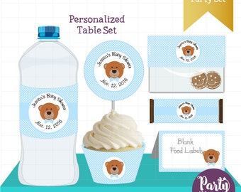 Personalized Teddy Bear Printable Party Set, Table Set Package, Party Decor, Toppers, Labels and Wrappers, Instant Download -D759 BBLB1
