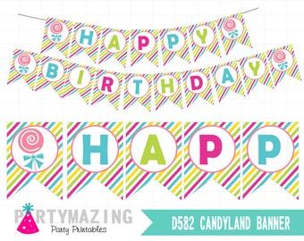 Candyland Printable Banner, DIY Candyland Decoration Banner,Candy Swirl Lollipop Printable Banner, Party Decor, Instant Download -D589 HBCL1