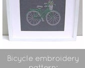 PDF embroidery pattern, bicycle hand embroidery pattern, bike needlecraft pattern, bicycle pattern download, DIY hoop art pattern