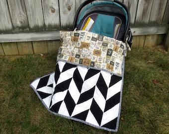 Car Seat Baby Quilt, Black White Herringbone Baby Quilt, Stroller Quilt, Neutral Baby Quilt, Neutral Car Seat Quilt, Tan Baby Quilt