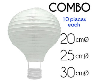 "Combo 30 pcs (8"", 10"", 12"" ) White Hot Air Balloon Paper Lanterns  - DIY Wedding, Birthday, Party, Baby Shower, Nursery Decoration"