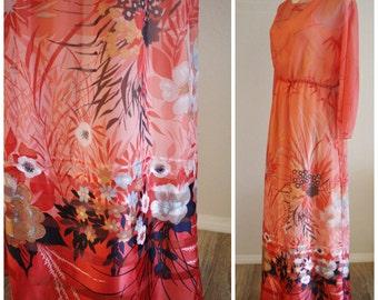 Free Shipping Vintage 60's 70's DON LUIS Espana Floral Pop Art Coral Melon Sheer Chiffon Long Maxi Dress SPAIN