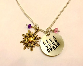 "Tangled Rapunzel Inspired Hand-Stamped Necklace - ""Live Your Dream"""