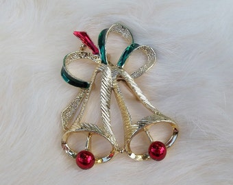 CHRISTMAS BELL BROOCH Vintage Gold Christmas Bell Brooch Signed Gerry's