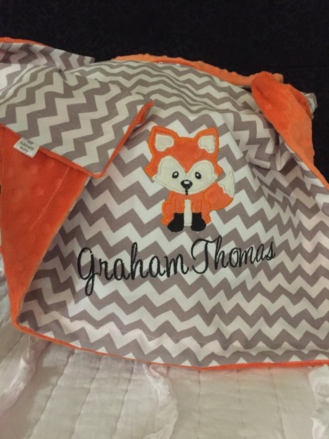 Fox Baby Blanket Personalized Fox Baby Blanket Woodland