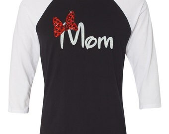 GLITTER Disney Mom with bow Raglan - Choose from 8 shirt styles with this logo (white glitter words / red glitter bow)
