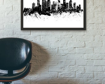 Charlotte Skyline, Black and White,Digital Watercolor Art Print, Modern Home Decor ,No,663