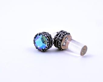 0g 2g 4g 6g 8g 10g 12g Silver filigree Aquamarine Glacier Blue Plugs Made With Swarovski Elements Wedding Bridal Plugs Gauges Tunnels