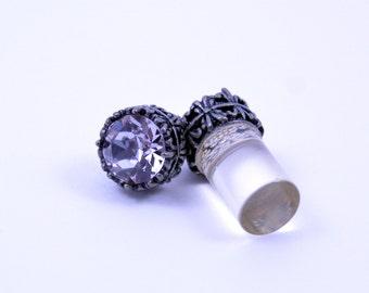 0g 2g 4g 6g 8g 10g 12g Silver filigree Smoky Mauve Plugs Made With Swarovski Elements Wedding Bridal Plugs Gauges Tunnels Bridesmaid