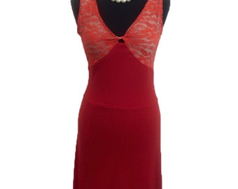 Tango Dress with Lace and Open Back | Red Milonga Dress | Tango Outfit