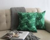 Malachite Swirls Pillow. Shades Of Emerald Green. Green Toss Pillow. Graphic and Bold Pattern. Modern Chic Glam. Waves Pattern. Statement.