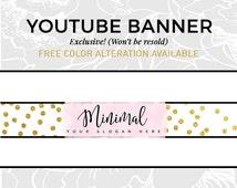 Pastel Lavender Youtube Banner   Blog Graphics   Social Media Branding   Gold Glitter Logo   Youtube Cover   Script Font Header   MINIMAL