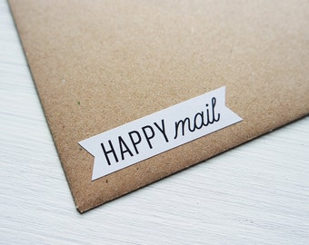 48 Happy Mail Stickers Happy Post Small Envelope Seals Flag Packaging Labels / Stationery / 242