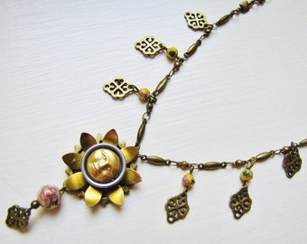 Sunny Flower Pendant Necklace with Vintage Cloisonne BeadsPN11