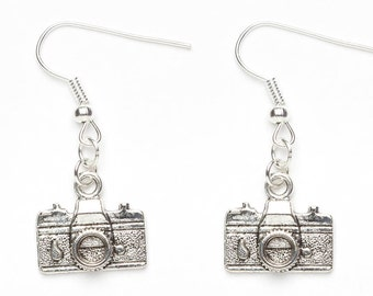 Silver Camera Earrings | Camera Charm Jewellery | Photographers Earrings | Photography Camera Gift Idea