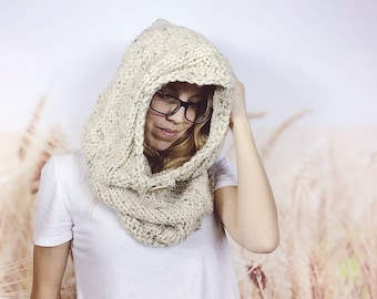 Adult Sized Hand-knit Hooded Cowl Scarf With Button Oversized Knitted Snood Chunky Knit Cowl Scarf Winter Accessories - {OATMEAL}