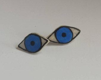 Eye Earrings - Blue (Large)