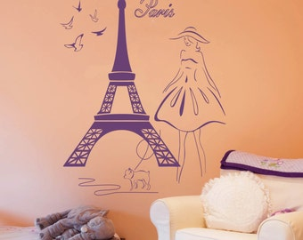 Wall Stickers Vinyl Decal Eiffel Tower Girl With Dog Doves Paris Travel