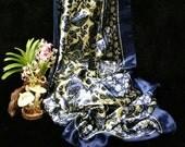 Navy blue satin maxi skirt, blue vintage paisley printed elastic waistline maxi skirt, reserved custom order.