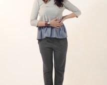 Women jersey pants , wool trousers , long pants , sweat pants , grey pants , winter trousers , wool