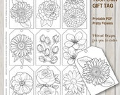 Printable PDF Gift Tag Coloring with flower design, instant download gift tags adult coloring florals by SLS Lines