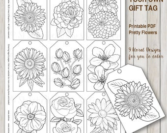 printable pdf gift tag coloring with flower design instant download gift tags adult coloring florals - Gothic Coloring Book
