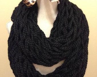 Black Arm Knit Infinity Scarf