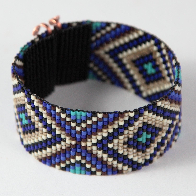 sparkling blues bead loom bracelet bohemian boho artisanal