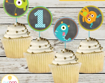 LITTLE MONSTER BIRTHDAY * Cupcake Toppers * First Birthday * Chalkboard * Decorations * Digital Printables * Instant Download