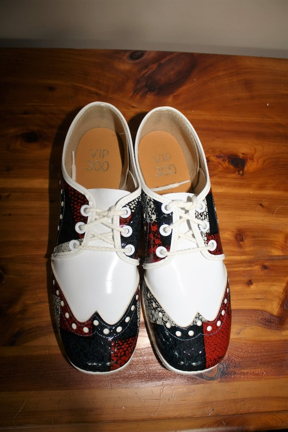 Super Cute 70's Wingtip Style Bowling Shoes Patchwork sz 7
