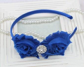 Royal blue headband, plastic headband, royal blue flower girls headband, toddler headband, royal blue hard headband royal hair accessories