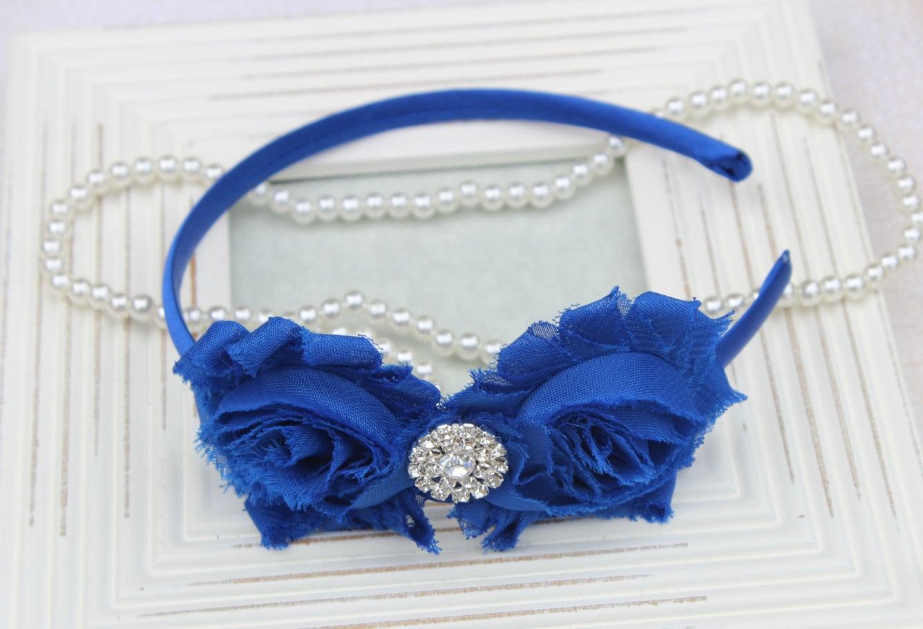 Royal Blue Headband Plastic Headband Royal Blue Flower Girls