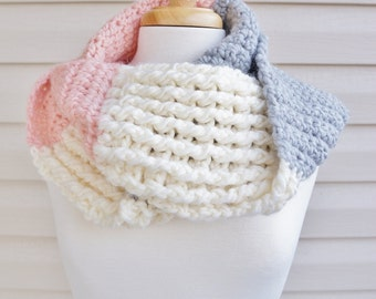 Crochet  Soft, Cozy Infinity Scarf in Variegated Cream, Pink and Grey for Fall or Winter, Super Chunky Scarf, Stich Sample Scarf