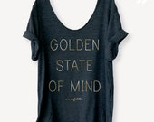 New 2016 Collection!! California Lover's Tee in Charcoal/Metallic Gold, Off Shoulder, Triblend, Raw Edge Swanky Tee - ONE SIZE